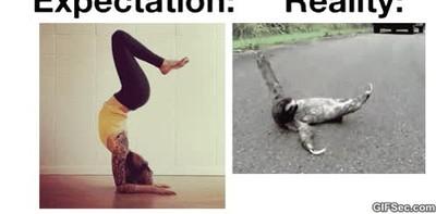 Enlace a Tú cuando intentas hacer esas posturas de yoga tan complicadas