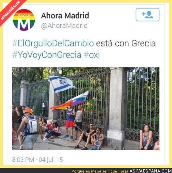 17753 - 'Ahora Madrid' confunde la bandera de Israel con la de Grecia