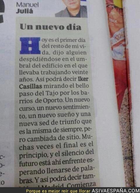 18507 - Vaya vistas va a tener Casillas, verá el Tajo desde Oporto. FAIL