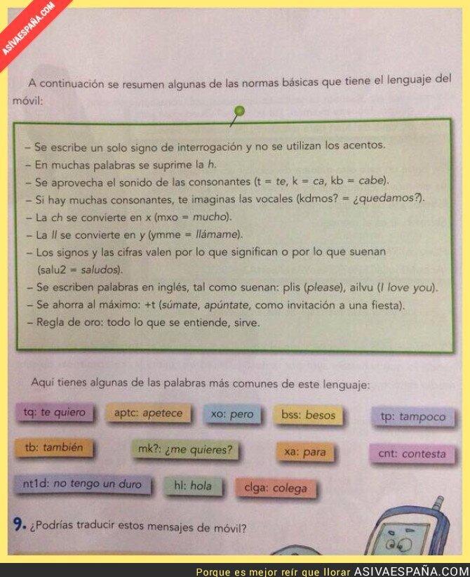 20020 - El lenguaje del móvil explicado en un libro de español. WTF