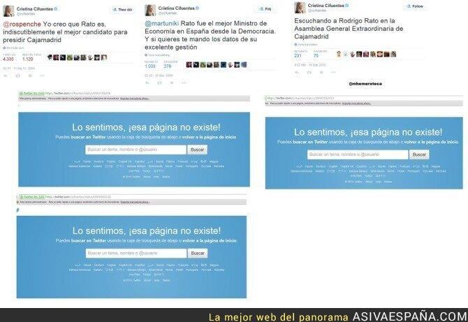 22821 - Cristina Cifuentes ha borrado todo el rastro hablando bien de Rodrigo Rato en Twitter