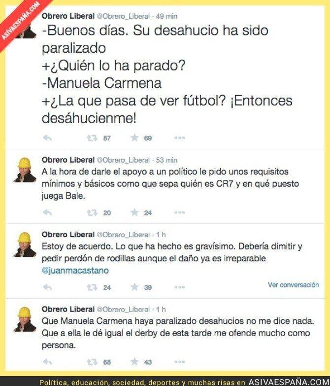 23509 - Hay que crucificar a Manuela Carmena, ¡No le gusta el fútbol! ¡Prefiere trabajar!
