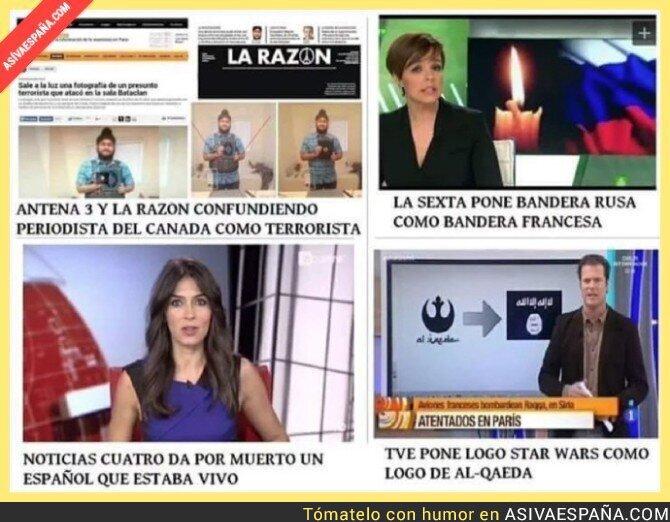 26486 - Resumen del atentado de París en los medios españoles. Desastre total