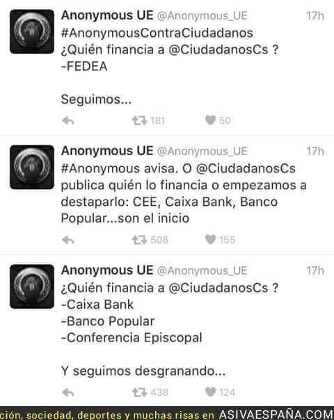 28931 - Anonymous le declara la guerra a Ciudadanos. Ojo a los datos que sacan de la financiación