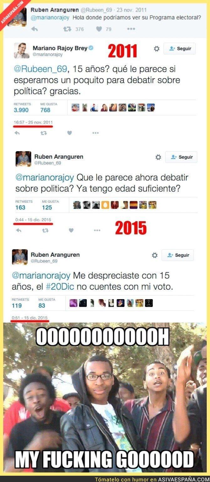 29143 - Mariano Rajoy se buscó un enemigo en Twitter en 2011 y 4 años después se lo recuerda. ¡Tremendo!