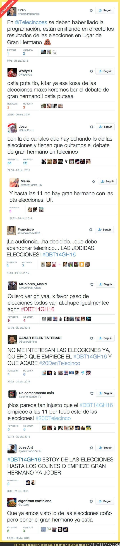 30150 - Fans de Gran Hermano muy cabreados en Twitter porque retrasaron el programa por las elecciones