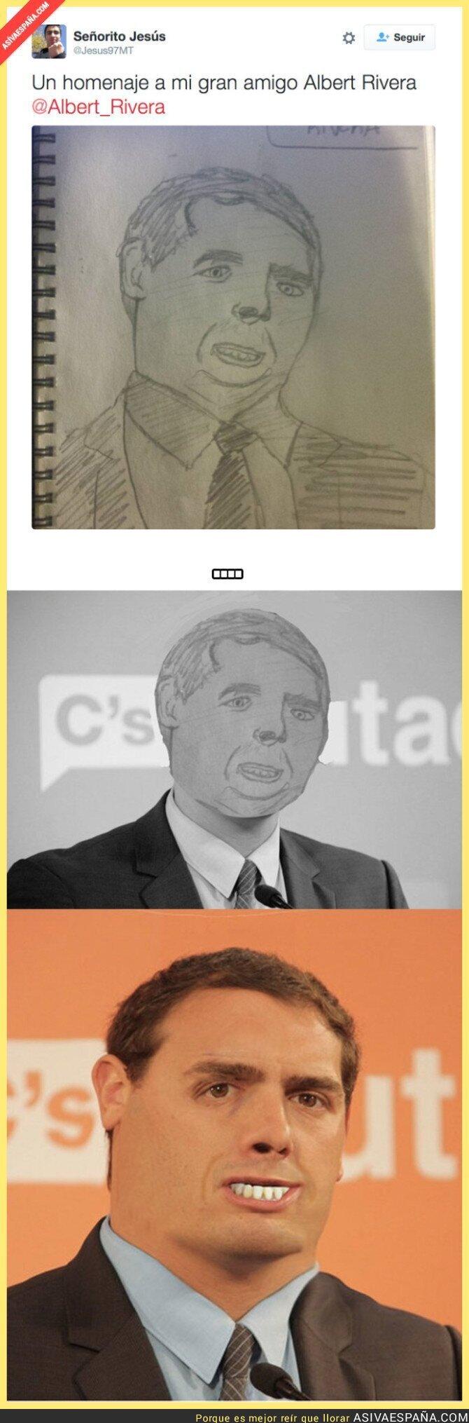 30825 - Un usuario de Twitter le dedica un dibujo a Albert Rivera y termina en cachondeo al ver la obra...