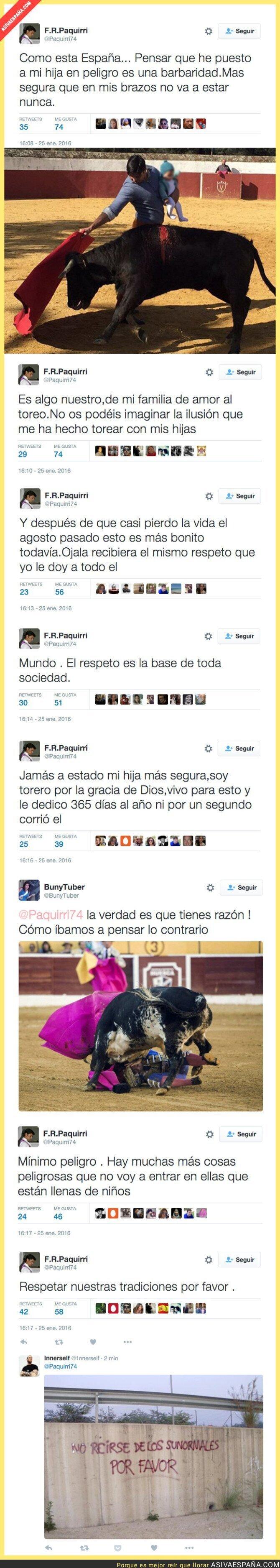 33103 - Atención a los tuits de Fran Rivera explicando el motivo por el que torea con su hija de 5 meses