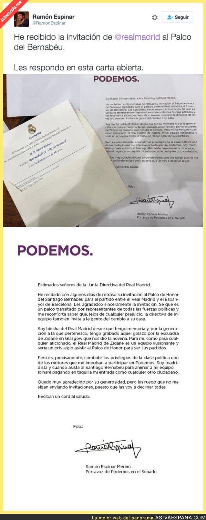 33967 - La gran respuesta de un senador de Podemos a la invitación del Real Madrid a un partido
