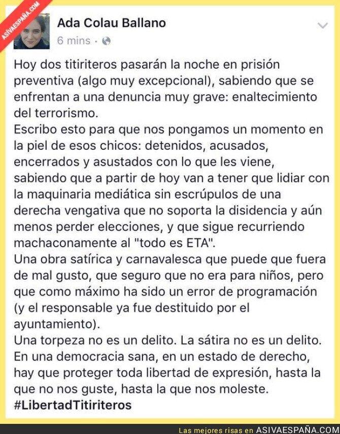 34164 - El polémico mensaje de Ada Colau sobre la obra de títeres en Madrid