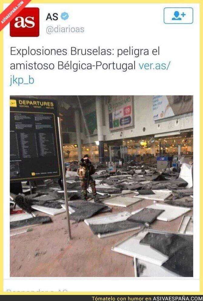 37869 - Atentado en Bruselas y el diario AS preocupado de un amistoso