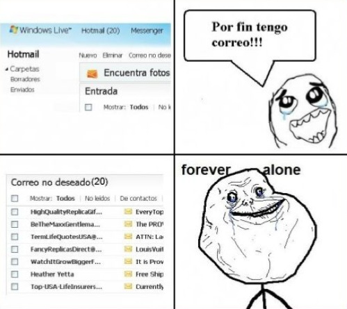 Forever_alone - ¡Oh! emails nuevos