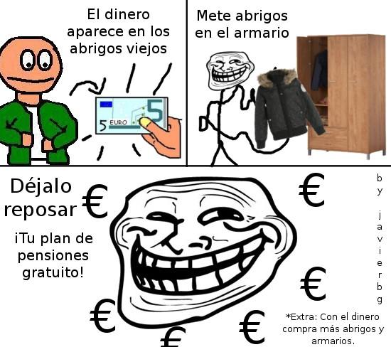Trollface - Abrigos viejos = ¡dinero!
