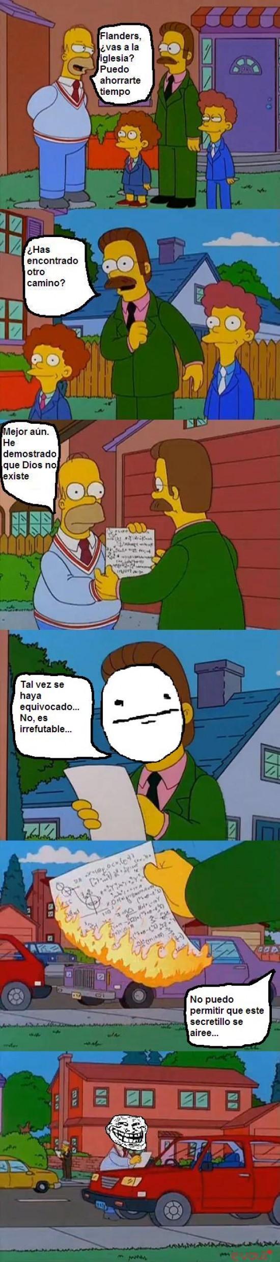 Trollface - Dios no existe, Homer Simpson lo ha comprobado