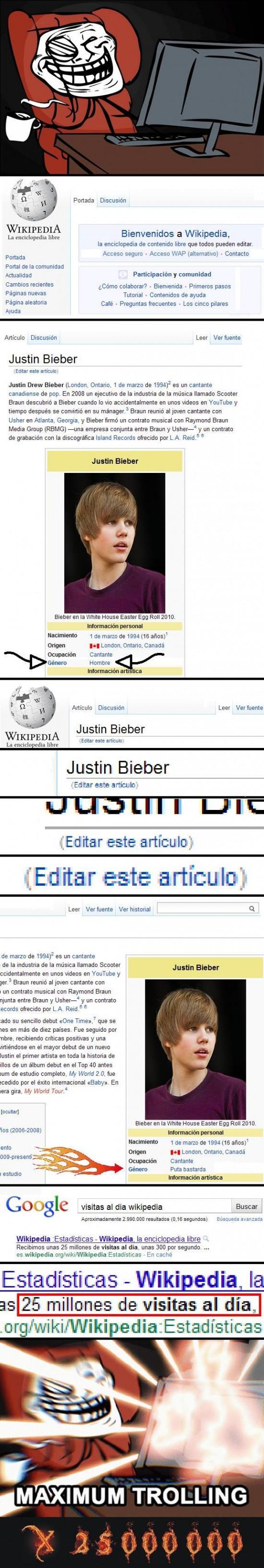 Trollface - Justin Bieber en Wikipedia