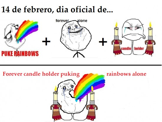 candle holder,forever alone,puke rainbows,san valentin