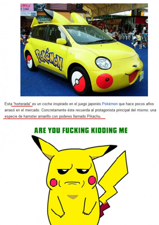 are you fucking kidding me?,coche,hamster,hortera,pikachu