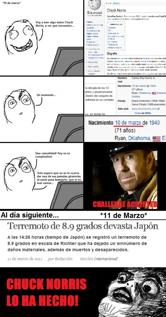 Chuck Norris,Cumpleaños,Desastre,Japón,Patada Giratoria,Terremoto