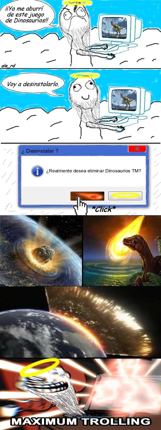 dinosaurios,dios,extinción,maximum trolling,troll,trollface
