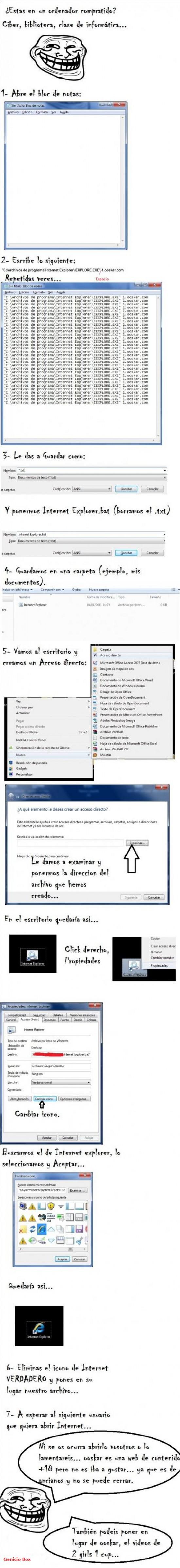 Trollface - Cómo trollear en un PC público