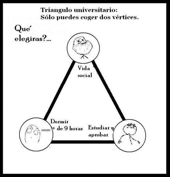 aprobar,dormir,dos,estudiar,triangulo,universitario,vértices,vida social