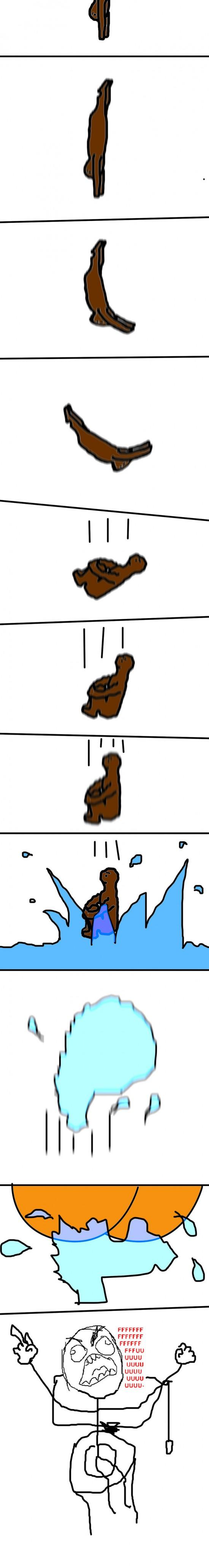 baño,cagar,mojar,salto