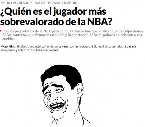 Yao - Jugador sobrevalorado NBA