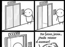 Enlace a Retenga el ascensor, por favor