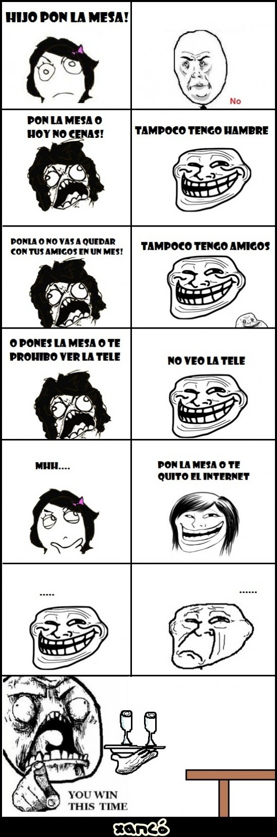 madre,mesa,poner,trollface,you win this time