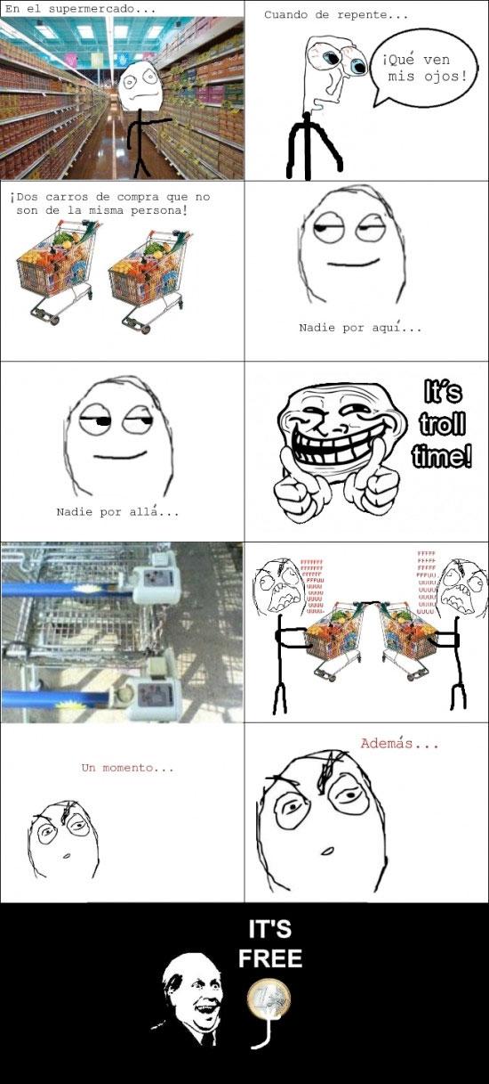 carrito,euro,it's free,supermercado,Troll,trollface