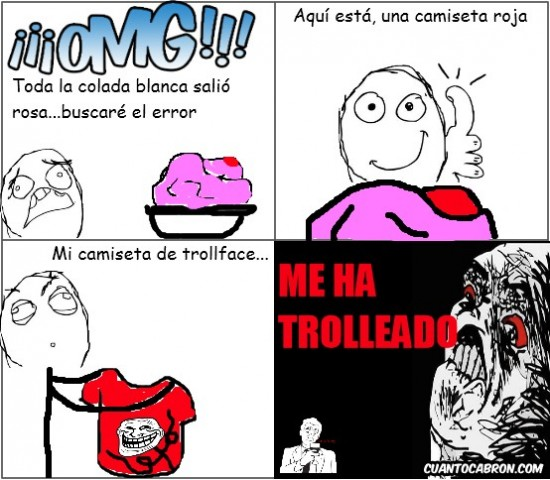 Trollface - La camiseta de trollface cumpliendo su función