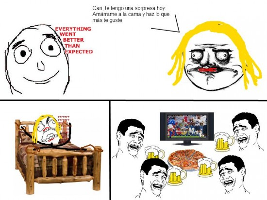 better than expected,cerveza,fútbol,me gusta,pizza,rage guy,yao ming