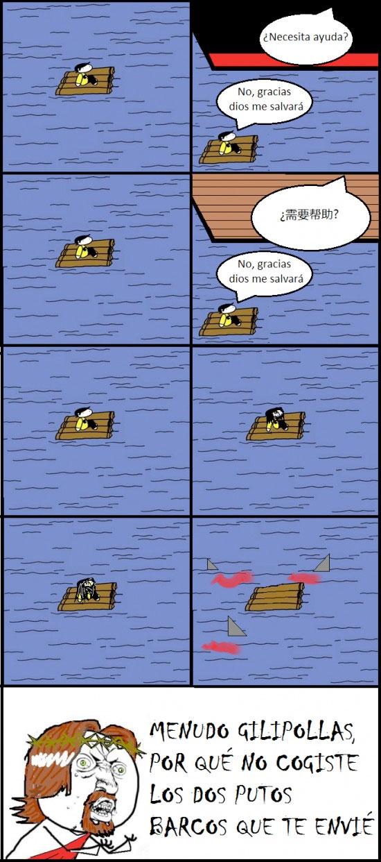 barcos,Dios,Naufrago,Y U NO