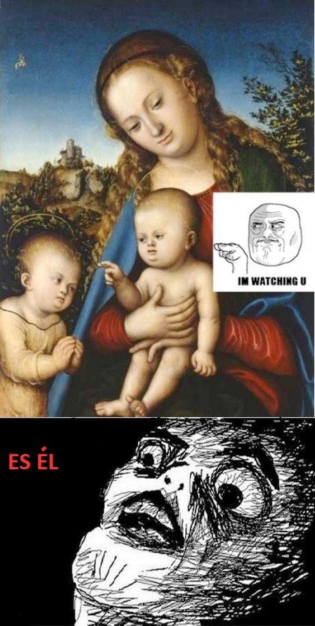 cuadro,encontrado,im watching you,jesús,niño