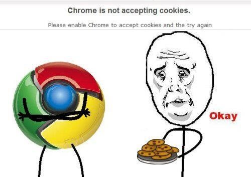 Okay - Chrome no acepta cookies