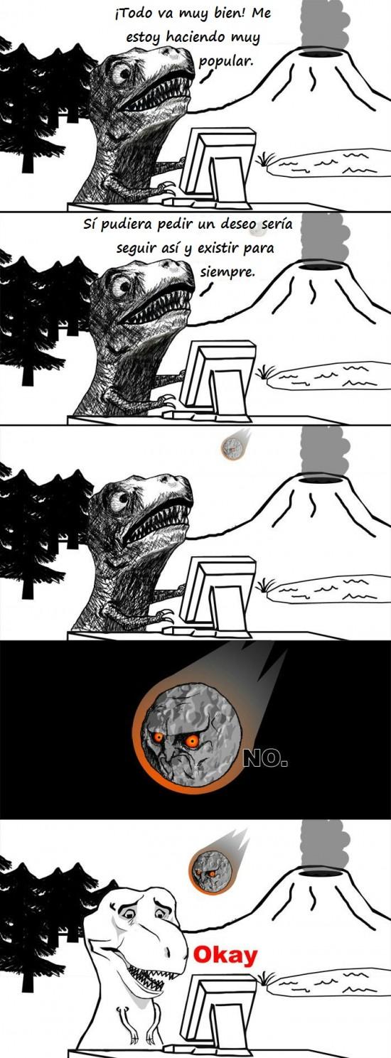 deseo,dinosaurio,extinción,meteorito,no,okay,raisins,T-Raisins,T-rex