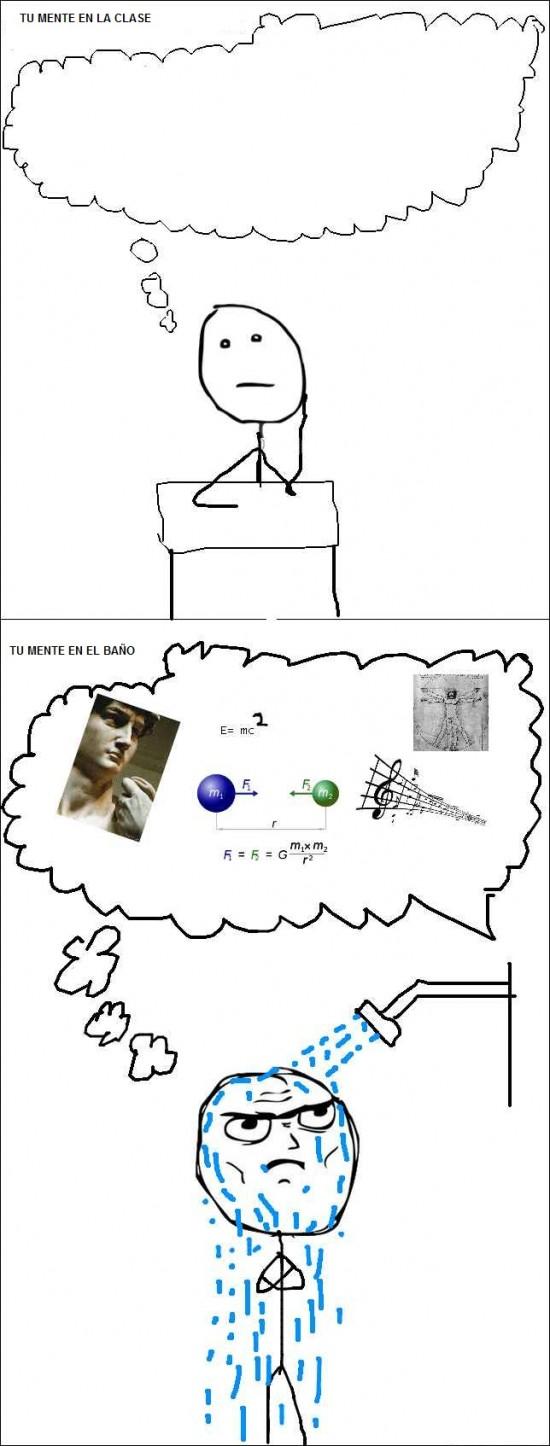 baño,cabeza,ciencia,clase,estudiar,mente,pensar