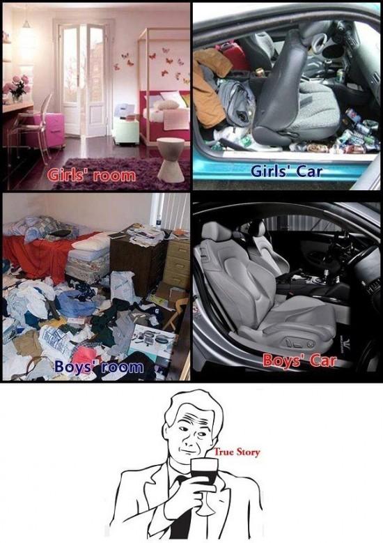 coches,cuartos,desorden,hombres,mujeres,True Story