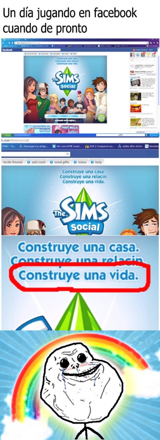 facebook,Forever alone,juego,sims