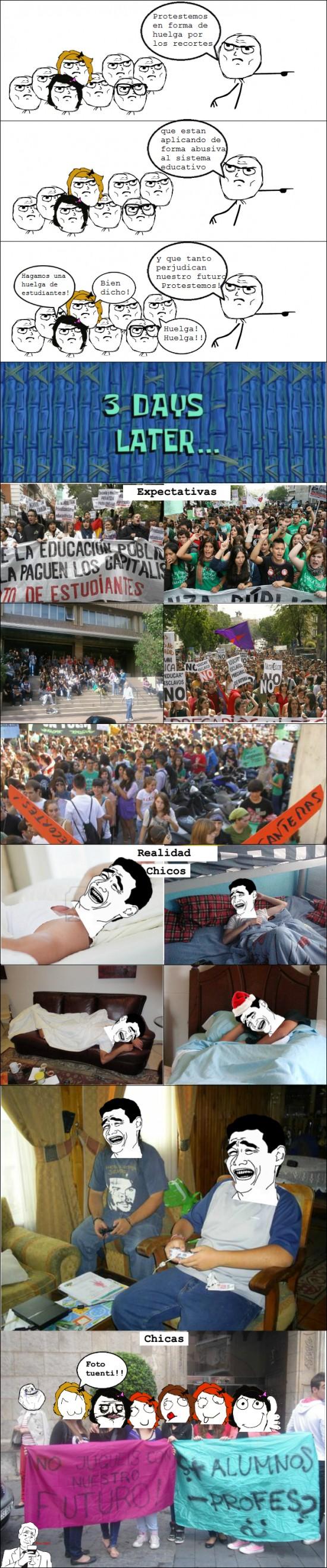 cama,chicas,chicos,dormir,estudiantes,foto tuenti,huelga,play,protesta,recortes,yao ming