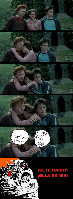 abrazo,harry potter,hermione,ron