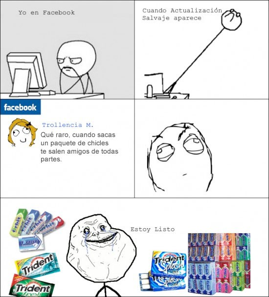 chicles,facebook,Forver alone