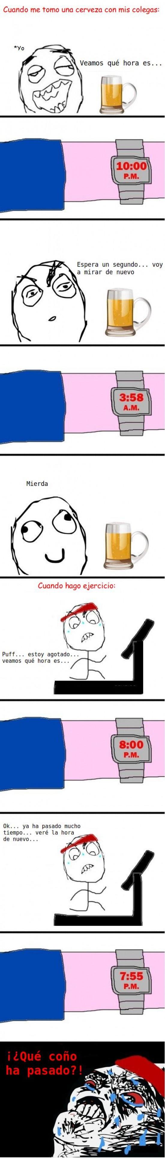 Beber,Cerveza,Ejercicio,Hora,Raisins,Reloj,Sudar