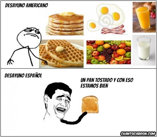 americano,desayuno,español