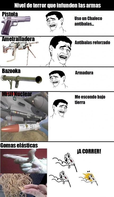 armas,bazooka,corred,goma elástica