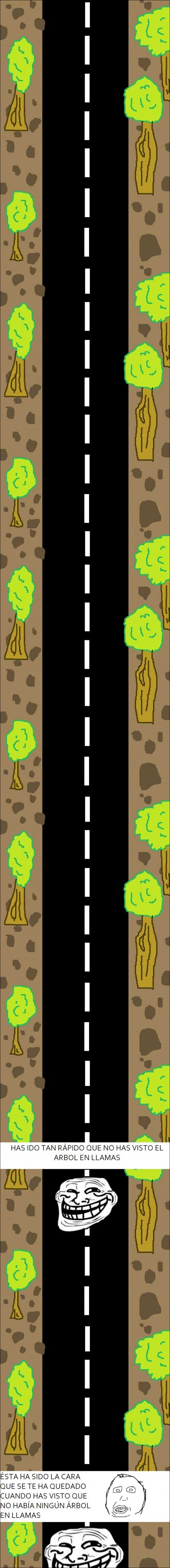 árbol,carretera,llamas,Trollface