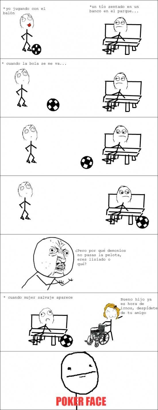 fútbol,pelota,poker face,silla de ruedas,y u no