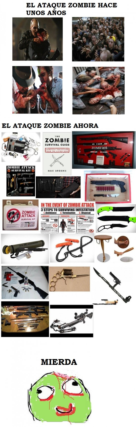 ahora,antes,armas,retarded,zombie