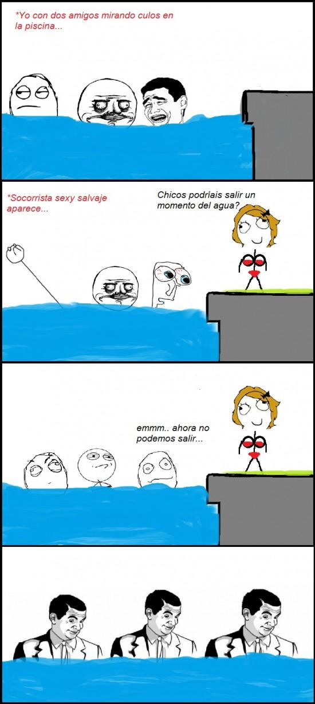 Otros - Erección en la piscina