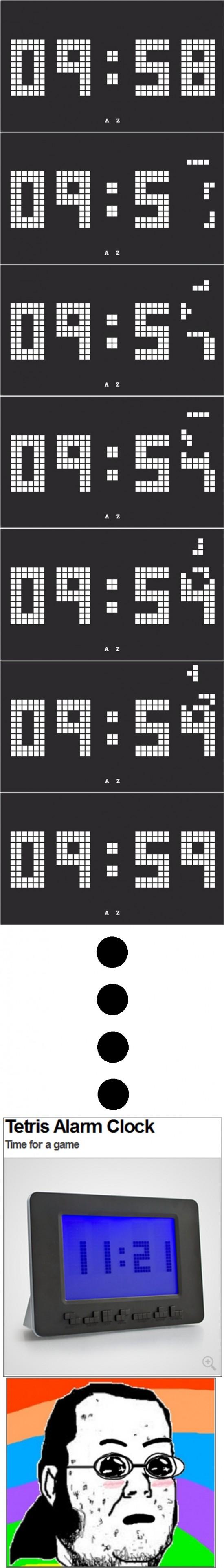 alarma,amazed,friki,gordo granudo,reloj,Tetris